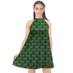 Scales3 Black Marble & Green Leather (r) Halter Neckline Chiffon Dress  by trendistuff