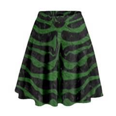 Skin2 Black Marble & Green Leather High Waist Skirt by trendistuff