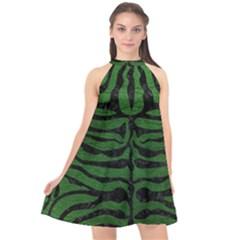 Skin2 Black Marble & Green Leather (r) Halter Neckline Chiffon Dress  by trendistuff