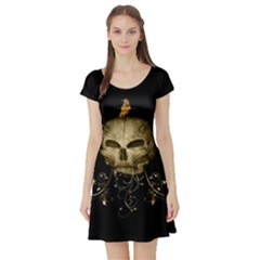 Golden Skull With Crow And Floral Elements Short Sleeve Skater Dress by FantasyWorld7