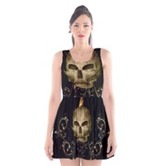 Golden Skull With Crow And Floral Elements Scoop Neck Skater Dress by FantasyWorld7
