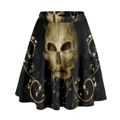 Golden Skull With Crow And Floral Elements High Waist Skirt by FantasyWorld7