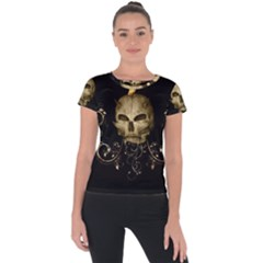 Golden Skull With Crow And Floral Elements Short Sleeve Sports Top