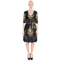 Golden Skull With Crow And Floral Elements Wrap Up Cocktail Dress by FantasyWorld7