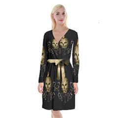 Golden Skull With Crow And Floral Elements Long Sleeve Velvet Front Wrap Dress by FantasyWorld7