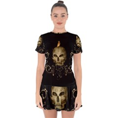 Golden Skull With Crow And Floral Elements Drop Hem Mini Chiffon Dress by FantasyWorld7