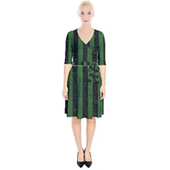 Stripes1 Black Marble & Green Leather Wrap Up Cocktail Dress by trendistuff