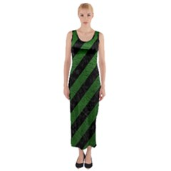 Stripes3 Black Marble & Green Leather Fitted Maxi Dress by trendistuff