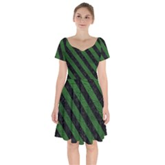 Stripes3 Black Marble & Green Leather (r) Short Sleeve Bardot Dress by trendistuff