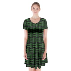 Woven1 Black Marble & Green Leather Short Sleeve V Neck Flare Dress by trendistuff