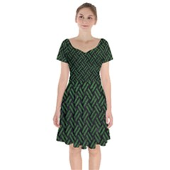 Woven2 Black Marble & Green Leather Short Sleeve Bardot Dress by trendistuff