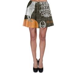 Vintage Halloween Skater Skirt by Valentinaart