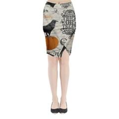 Vintage Halloween Midi Wrap Pencil Skirt by Valentinaart