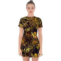 Amazing Neon Flowers B Drop Hem Mini Chiffon Dress by MoreColorsinLife