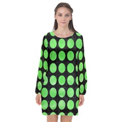 Circles1 Black Marble & Green Watercolor Long Sleeve Chiffon Shift Dress  by trendistuff