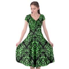 Damask1 Black Marble & Green Watercolor Cap Sleeve Wrap Front Dress by trendistuff