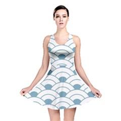 Art Deco,shell Pattern,teal,white Reversible Skater Dress by 8fugoso