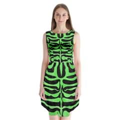 Skin2 Black Marble & Green Watercolor Sleeveless Chiffon Dress   by trendistuff