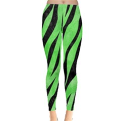 Skin3 Black Marble & Green Watercolor (r) Leggings  by trendistuff