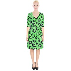 Skin5 Black Marble & Green Watercolor Wrap Up Cocktail Dress by trendistuff