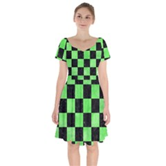Square1 Black Marble & Green Watercolor Short Sleeve Bardot Dress by trendistuff