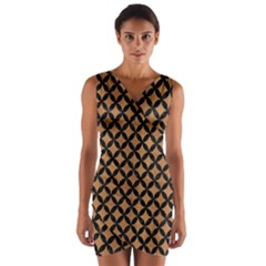 Circles3 Black Marble & Light Maple Wood (r) Wrap Front Bodycon Dress by trendistuff