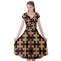 Puzzle1 Black Marble & Light Maple Wood Cap Sleeve Wrap Front Dress
