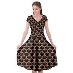 Scales3 Black Marble & Light Maple Wood Cap Sleeve Wrap Front Dress by trendistuff