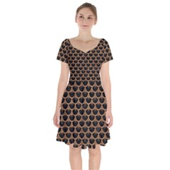 Scales3 Black Marble & Light Maple Wood Short Sleeve Bardot Dress by trendistuff