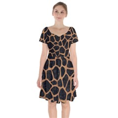 Skin1 Black Marble & Light Maple Wood (r) Short Sleeve Bardot Dress by trendistuff