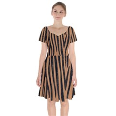 Skin4 Black Marble & Light Maple Wood Short Sleeve Bardot Dress by trendistuff
