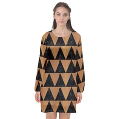 Triangle2 Black Marble & Light Maple Wood Long Sleeve Chiffon Shift Dress  by trendistuff