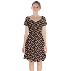 Woven2 Black Marble & Light Maple Wood Short Sleeve Bardot Dress by trendistuff