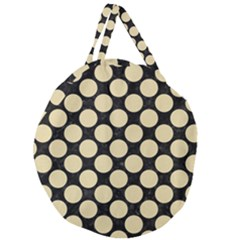 Circles2 Black Marble & Light Sand Giant Round Zipper Tote
