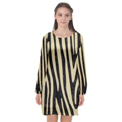 Skin4 Black Marble & Light Sand (r) Long Sleeve Chiffon Shift Dress  by trendistuff