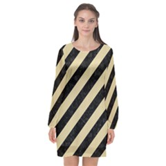Stripes3 Black Marble & Light Sand Long Sleeve Chiffon Shift Dress  by trendistuff