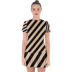 Stripes3 Black Marble & Light Sand Drop Hem Mini Chiffon Dress by trendistuff