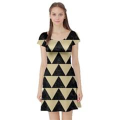Triangle2 Black Marble & Light Sand Short Sleeve Skater Dress by trendistuff