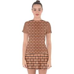 Brick1 Black Marble & Natural Red Birch Wood (r) Drop Hem Mini Chiffon Dress by trendistuff