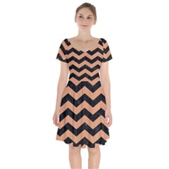 Chevron3 Black Marble & Natural Red Birch Wood Short Sleeve Bardot Dress by trendistuff