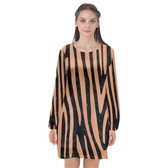 Skin4 Black Marble & Natural Red Birch Wood (r) Long Sleeve Chiffon Shift Dress  by trendistuff