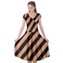 Stripes3 Black Marble & Natural Red Birch Wood Cap Sleeve Wrap Front Dress by trendistuff