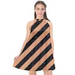 Stripes3 Black Marble & Natural Red Birch Wood Halter Neckline Chiffon Dress  by trendistuff