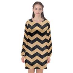 Chevron3 Black Marble & Natural White Birch Wood Long Sleeve Chiffon Shift Dress  by trendistuff