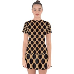 Circles2 Black Marble & Natural White Birch Wood (r) Drop Hem Mini Chiffon Dress by trendistuff