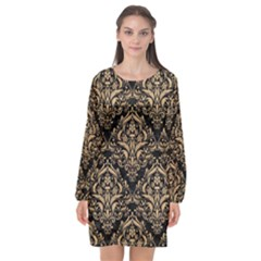 Damask1 Black Marble & Natural White Birch Wood Long Sleeve Chiffon Shift Dress  by trendistuff
