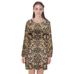 Damask2 Black Marble & Natural White Birch Wood (r) Long Sleeve Chiffon Shift Dress  by trendistuff