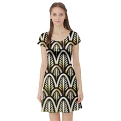 Art Deco Gold Black Shell Pattern Short Sleeve Skater Dress by 8fugoso