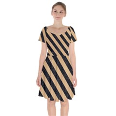 Stripes3 Black Marble & Natural White Birch Wood (r) Short Sleeve Bardot Dress by trendistuff