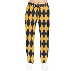 Diamond1 Black Marble & Orange Colored Pencil Drawstring Pants by trendistuff
